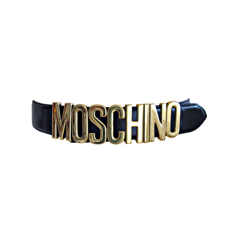 Image of Moschino Black Redwall Iconic Logo Leather Belt- Vintage 80's