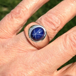 Image of Oval Blue Star Sapphire Men's Ring in Heavy Sterling Silver