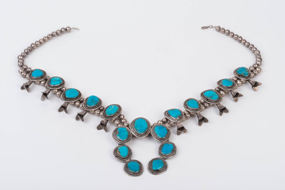 Image of Vintage Turquoise Squash Blossom Necklace