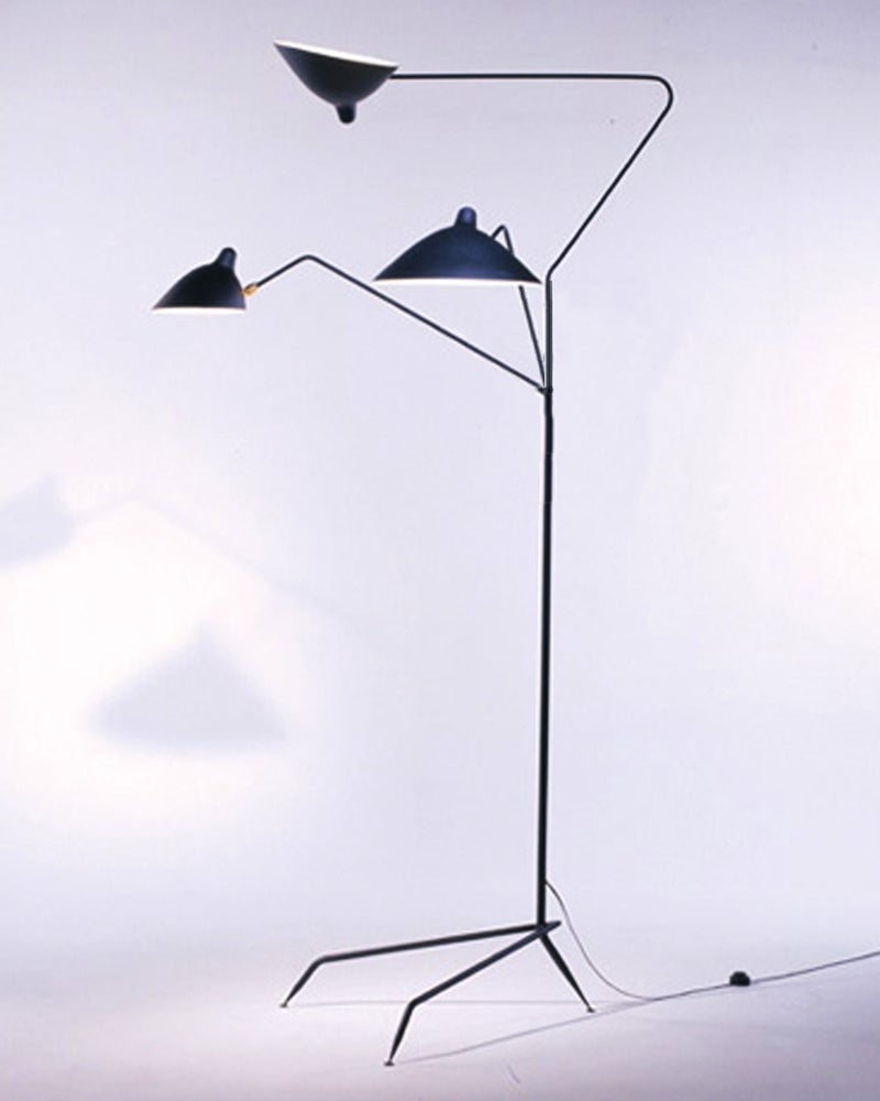 of serge mouille style 3 arm standing floor lamp lampadaire 3 bras. Black Bedroom Furniture Sets. Home Design Ideas