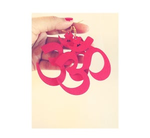 Image of Red & Black Om Earrings