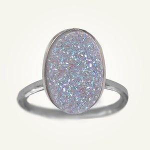 Image of Large Oval White Druzy Ring, Sterling Silver