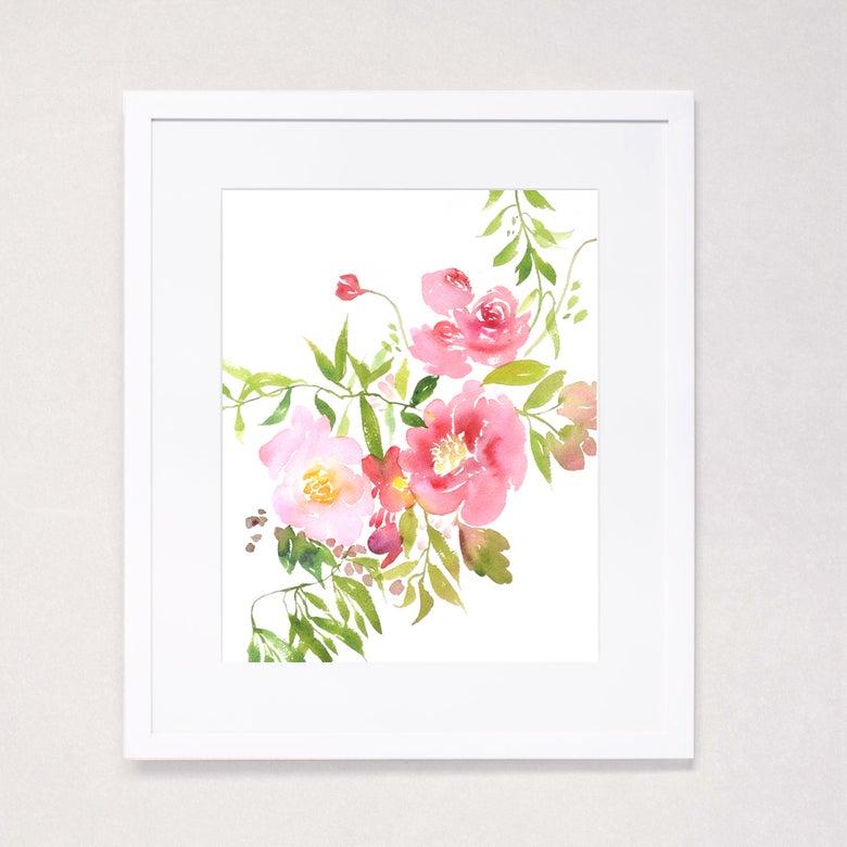 Image of Peony Watercolor Bouquet Art Print