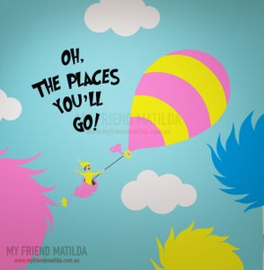 Image of Kid on Hot Air Balloon - Oh the Places you'll go - Dr Seuss Character