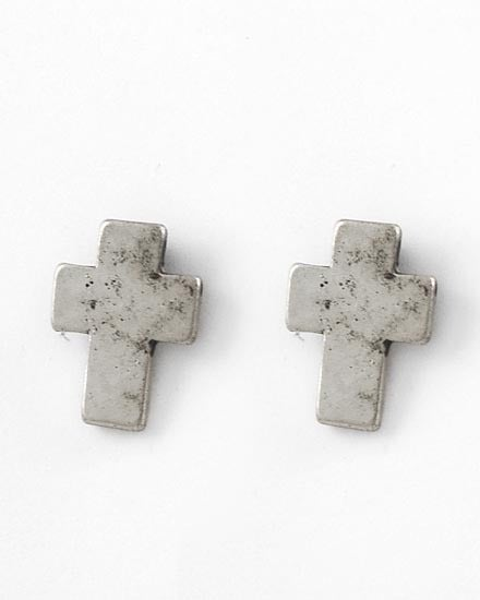 Image of Burnished Cross Button Stud Earrings