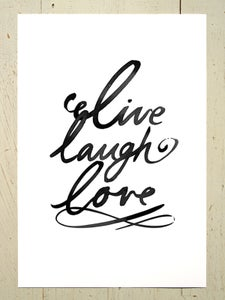 Image of Live laugh love art print - Black