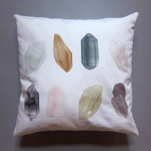 Image of Pillow / Bird & crystals