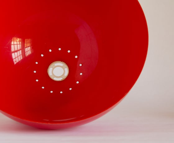 Image of Red Dome 1970s Plastic Light Shade - Large