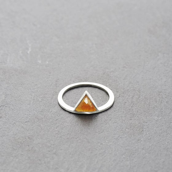 Image of Kandy Orange Crack Agate Ring Silver
