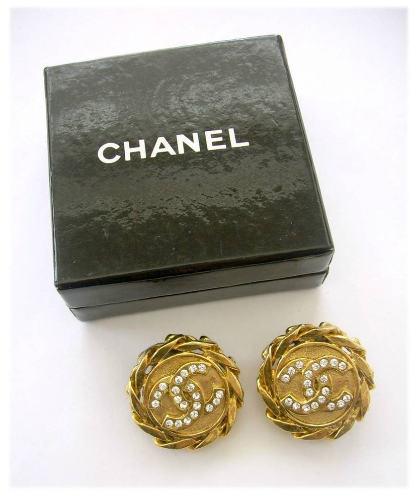 Image of SOLD OUT Chanel Large Vintage Rhinestone Earrings