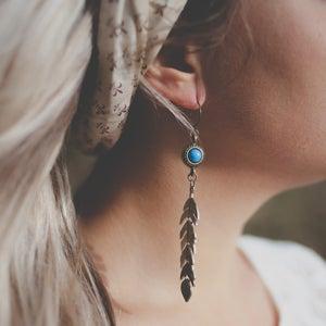 Image of Kai - Long Tribal Bronze Leaf Earrings