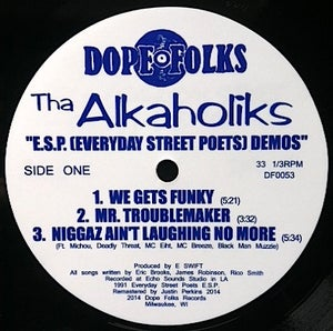 "Image of THA ALKAHOLIKS ""E.S.P. (Everyday Street Poets) Demos"" BLACK VINYL"