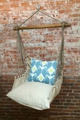 Image of Hammock Swing Chair - Blue Ikat