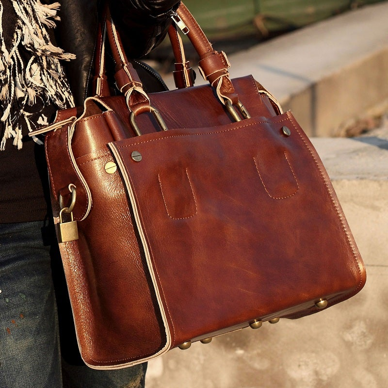 Image of Handmade Women's Leather Handbag / Briefcase / Messenger Bag in Oil Wax Leather (m12)