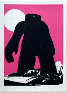 Image of 'Yeti Over Mount Fuji (Magenta)' Screenprint FEW REMAINING