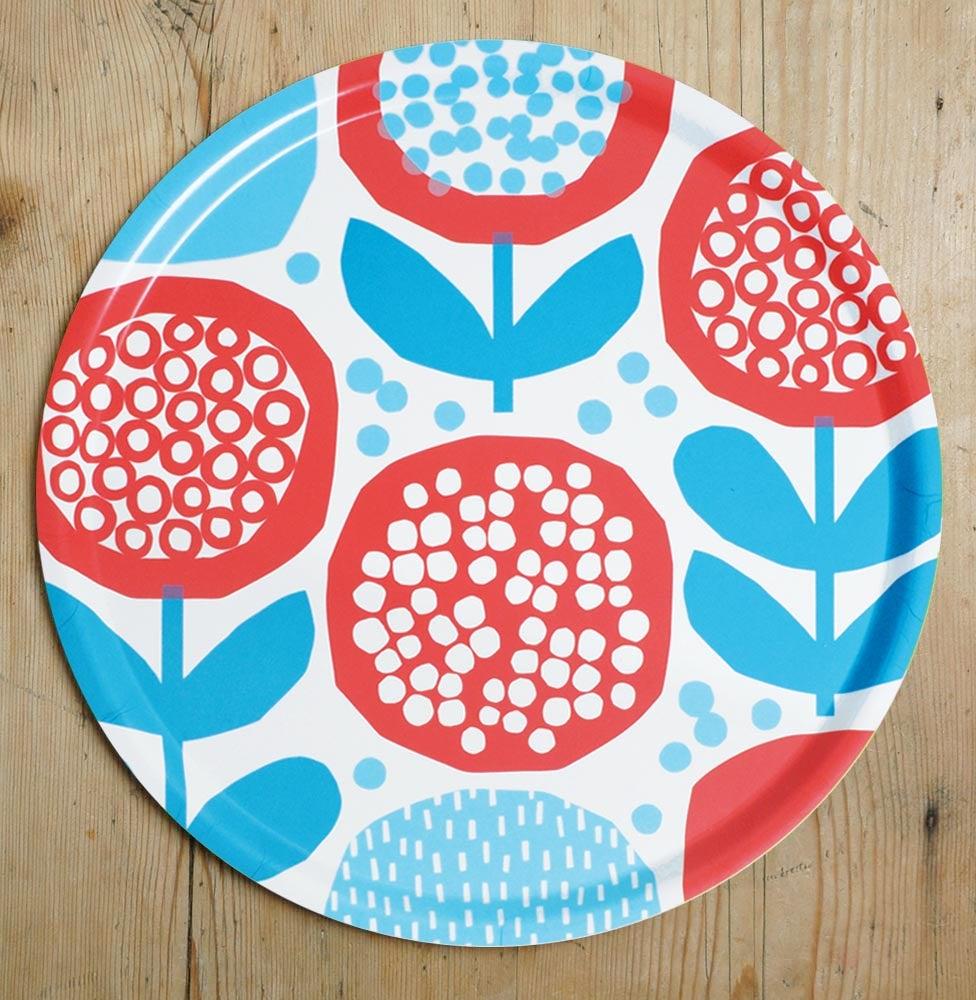Image of Red/blue birchwood tray