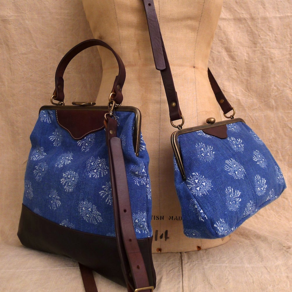 Image of Seaweed pattern Vintage Indigo Linen Hereford
