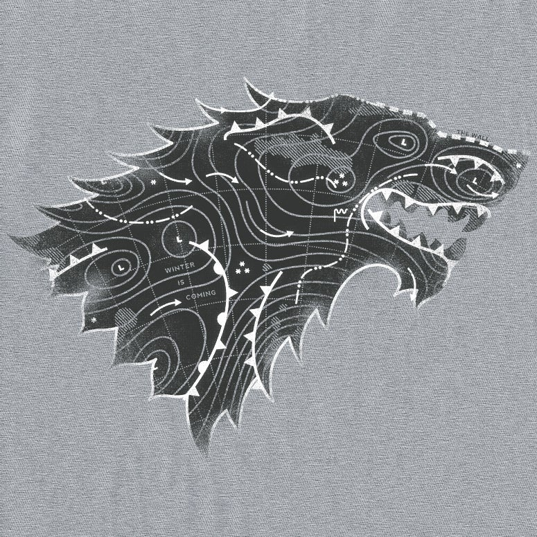 "Image of GoT ""Stark Forecast"" - Grey Marle, Oyster Grey & White tee"