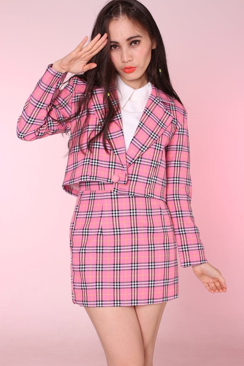 Image of Ready To Post - Cher Blazer and Skirt Set in Pink Tartan