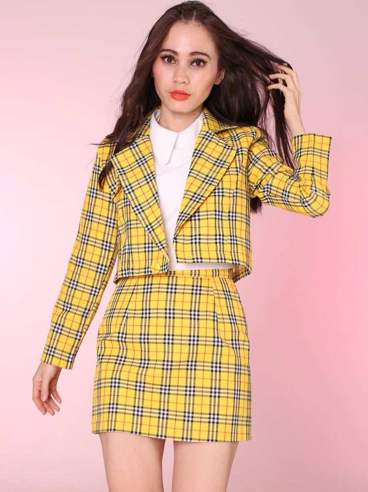 Image of Ready To Post - Cher Yellow Tartan Blazer & Skirt Set