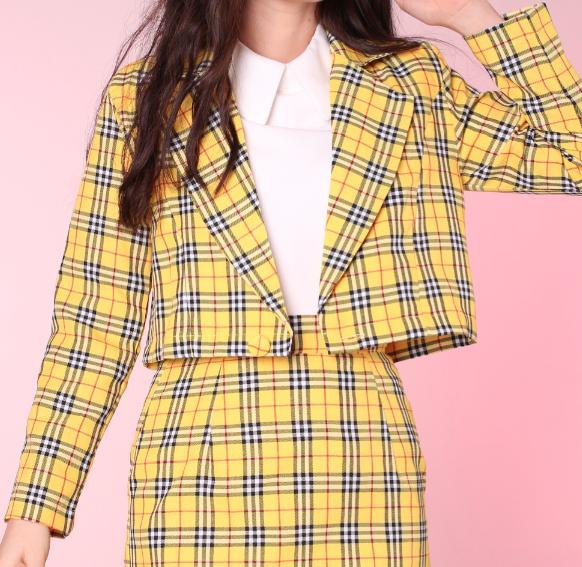 Image of Cher Blazer in Yellow Tartan