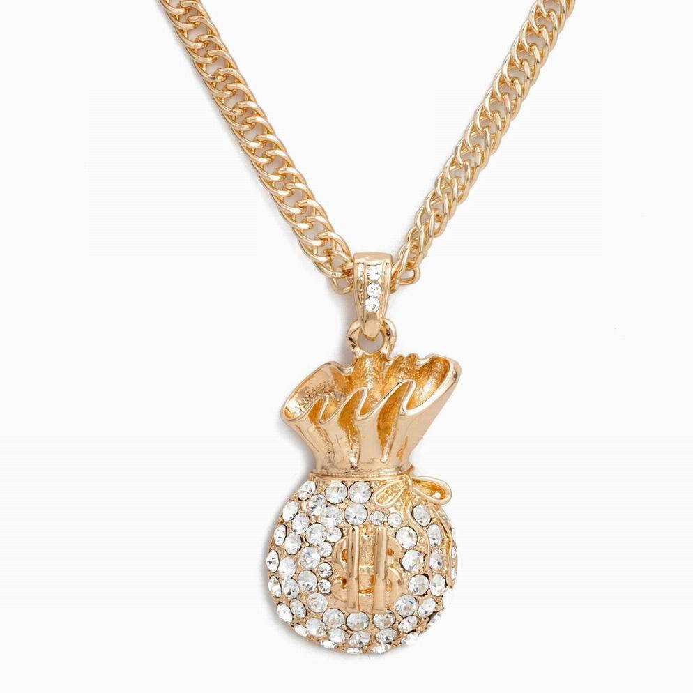 gold hdq large money bag 36 inch necklace