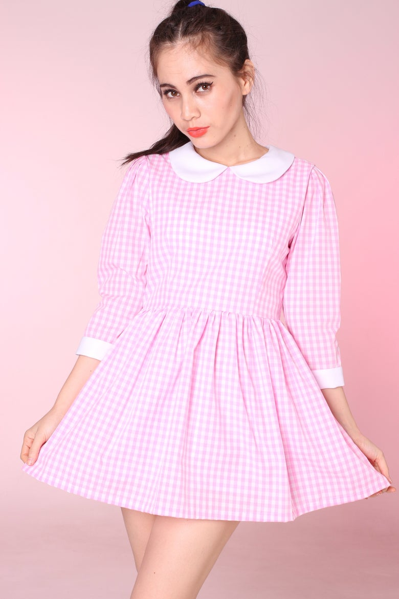 Image of Made To Order - Caroline Baby Doll Dress in Pink Gingham