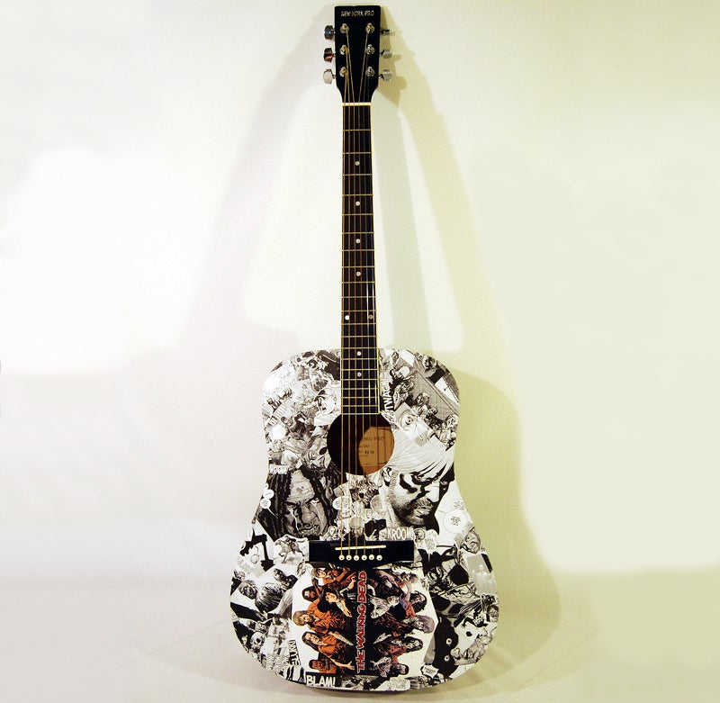 Image of The Walking Dead Comic Collage Acoustic Guitar