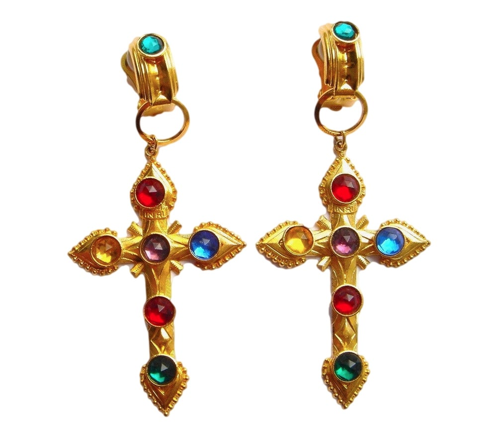 Image of Vintage Huge Czech Glass Byzantine Earrings - Haute Couture Runway