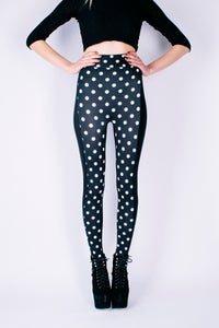 Image of High Waisted NICO Leggings in MONO MINNIE Polka Dot Print