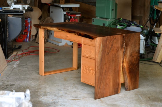Image of walnut single-fold slab desk