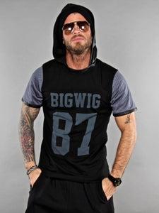 Image of Bigwig 87 t-shirt nera con cappuccio ecopelle