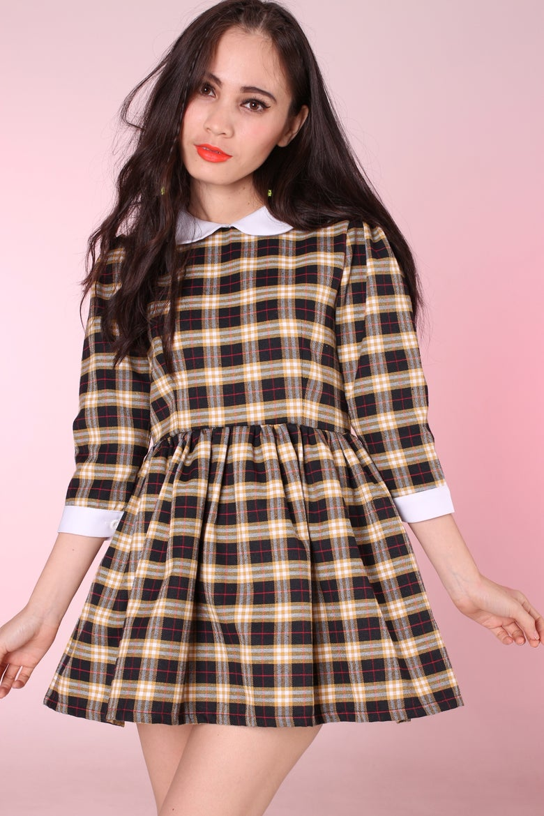 Image of Made To Order - Caroline Baby Doll Dress in Yellow Black Tartan