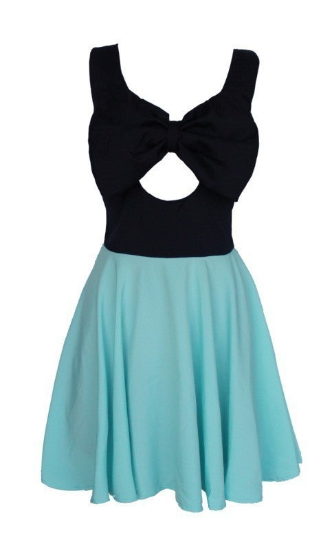 Image of CONTRAST HIS CHEST WITH BOWKNOT CONNECT DRESS SKIRT