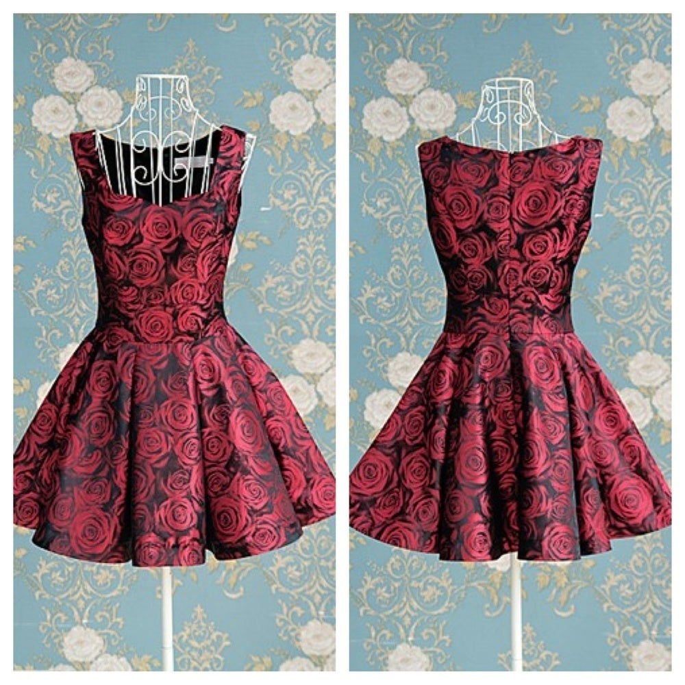 Image of ELEGANT ROSES PRINT NICE DRESS