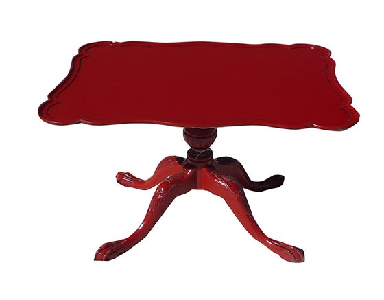 Image of Hi gloss red claw foot table - vintage