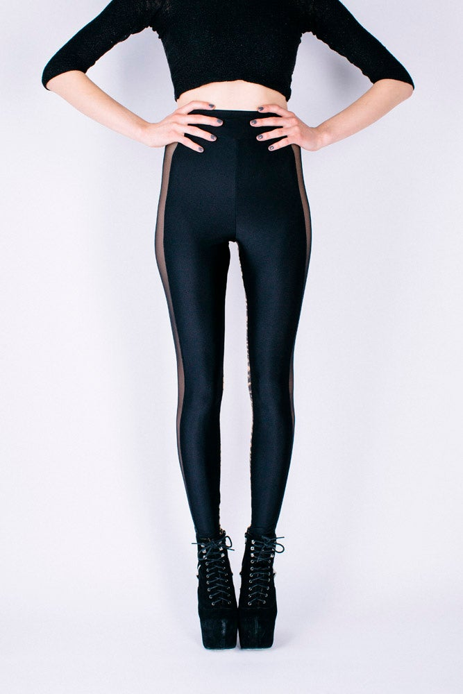 Image of High Waisted ONIA Leggings in BLACK/NUDE TIGER PRINT