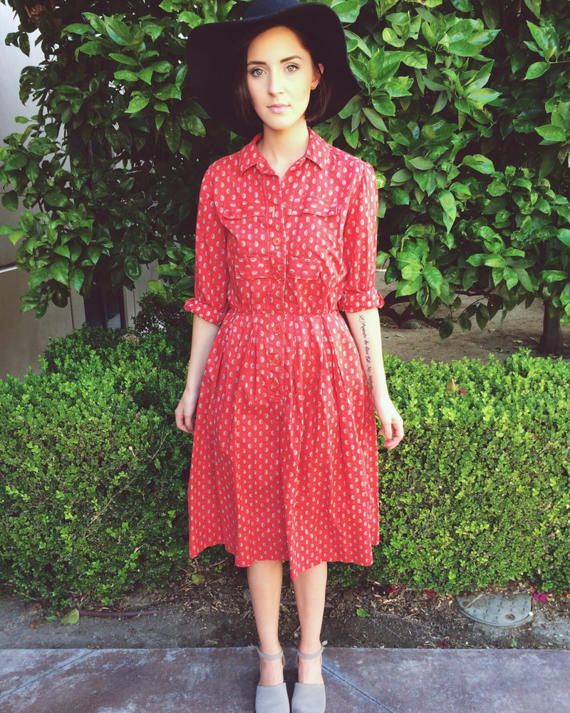 Image of Red Paisley Dress
