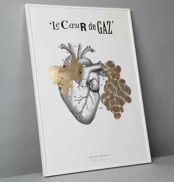 Image of The Gaz Heart print with foil blocked gas in gold.