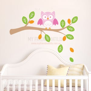 Image of Owl on a Branch Wall Decal Sticker Nursery Kids Room