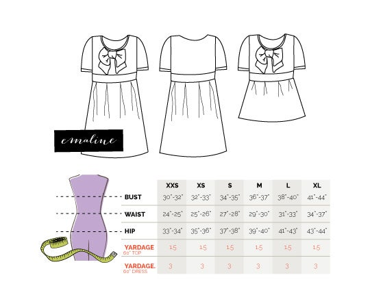 Image of the EMALINE bow dress pattern