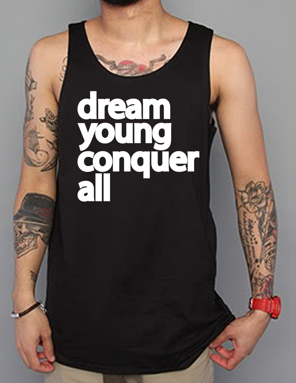 """Image of """"DREAM YOUNG CONQUER ALL"""" BLACK/TANK TOP"""