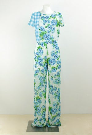 Image of  FLOWERS AND CHECK PRINT JUMPSUIT