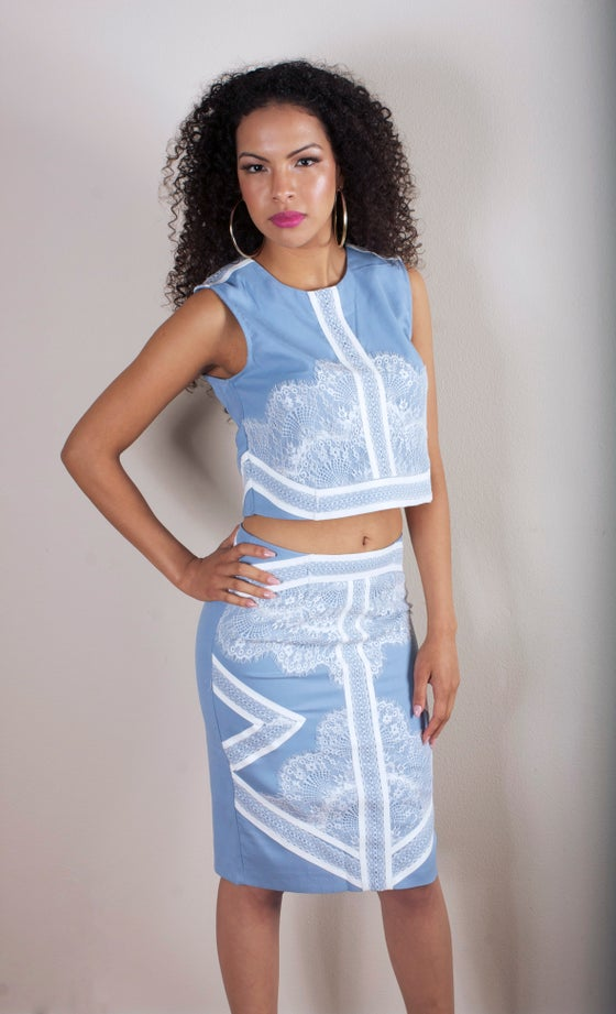 Image of Blue/White 2 piece skirt set