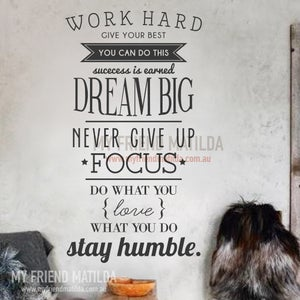 Image of Work Hard, Dream Big, Focus Inspirational Words Wall Decal Sticker