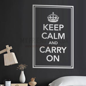 Image of Vinyl Wall Sticker Decal Art - Keep Calm and Carry On