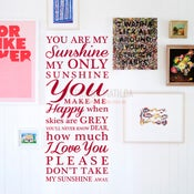 Image of You Are My Sunshine My Only Sunshine Wall Decal Sticker