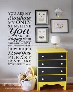 You Are My Sunshine My Only Sunshine Wall Decal Sticker - Wall decals you are my sunshine