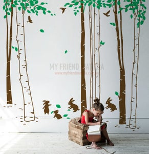 Image of Bunny Forest Tree wall decal sticker for nursery