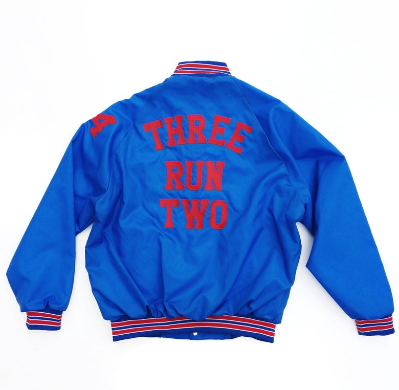 Image of 'Go Team, Made to Order, Unisex Baseball Jacket (Royal / Red)